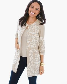 """Spring florals flip the script on the classic paisley pattern in this expressive jacquard jacket with an ivory and neutral palette.   Welt pockets.  Regular length: 33"""".  Petite length: 32"""".  Cotton, linen.  Machine wash. Imported."""