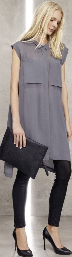 Grey Outfit for women idea tunic top and leggings