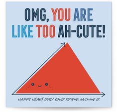 This Totally Rad Math Valentine Pun Is A Perfect Classroom Valentine! Blue Valentine Day Cards From Minted By Independent Artist Loree Mayer. Nerd Valentine, Funny Valentines Cards, Valentines For Kids, Classroom Valentine Cards, New Baby Greetings, Happy Hearts Day, Math School, Wrapping Gifts, Love Math