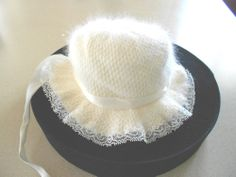 Vintage angora baby bonnet, soft egg shell white with lace, 1950's.