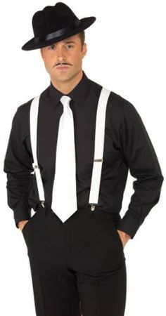 BLACK BRACES 6 PACK MEN/'S GANGSTER 20/'S 40/'S FANCY DRESS SUSPENDERS COSTUME