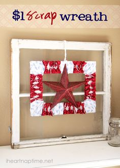 Make a 4th of July wreath for a buck with fabric scraps and a foam board.