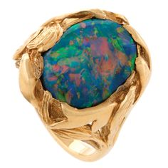 Van Cleef & Arpels Black Opal and Gold Ring | 1stdibs.com