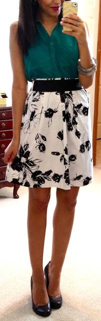 Jewel tone shirt with black and white skirt. I like how this skirt is mostly white, very fresh