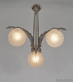 Muller freres: French 1930 art deco chandelier. paravas-ebay