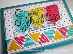 stampin up geburtstag karte match the sketch kaleidoskop geometrical dein tag dreieckstanze happy watercolor
