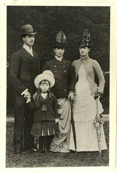 Prince Albert Victor, Grand Duchess Olga Alexandrovna, Tsarina Marie Feodorovna and Queen Alexandra of England.