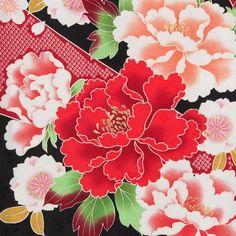 【楽天市場】卒業式 袴 レンタル セット (RR403)黒 絞り柄に牡丹と梅・菊 卒業式 レンタル はかま ハカマ 着物 フルセット 貸衣装 ふりそで フリソデ… Japanese Textiles, Japanese Patterns, Japanese Floral Design, Oriental Wallpaper, Batik Art, Kimono Pattern, Asian Design, Japanese Paper, Decoupage Paper