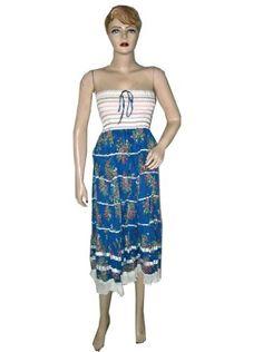 Bohemian Tube Dress for Womens Blue White Printed Multi Wear Strapless Smocked Cotton Skirts Mogul Interior, http://www.amazon.com/gp/product/B006LGXAK4/ref=cm_sw_r_pi_alp_6ecEqb1SPMWEM