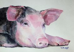 Lying Pig Piglet Farm Animal Original Watercolor Painting | eBay
