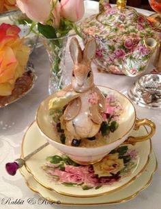 Rabbit tea; Gorgeous old fashion china, really never goes out of fashion but just makes a table elegant.