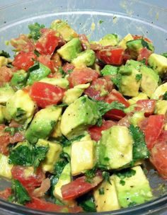 This is AWESOME!!! Avocado Tomato Salad. salt, pepper & olive oil. we eat this almost every night11