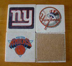 New York Sports Teams Drink Coasters Set of 4 by WindyDucks