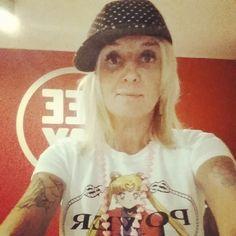 "La Pina wears Bazaretto for Tee Trend ""Power"" #bazaretto #teetrend #lapina #radiodeejay #sailormoon #power #graphictees #prada"