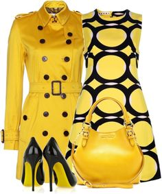 """""""Untitled #1828"""" by lisa-holt on Polyvore - Yellow trench coat, yellow, black and white dress, black stiletto heels, and yellow leather handbag"""