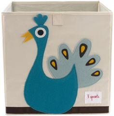 Aufbewahrung im Kinderzimmer mit Spielzeugbox Pfau, 33 x 33x 33 cm, von 3 sprouts