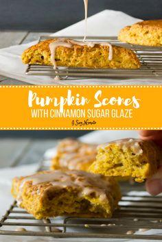 Pumpkin Scones with Cinnamon Sugar Glaze - I Say Nomato | My Cooking Spot