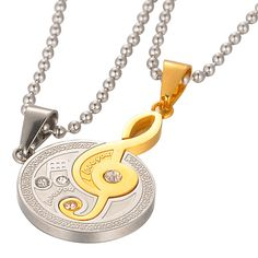 Music Note with Rhrinestone Necklace Set – Valyria Jewelry