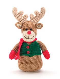 Designs by Sheila Leslie  REINDEER  FINISHED SIZE 14 inches tall  MATERIALS  •Medium (worsted) weight yarn: 3 oz/150 yds/85g brown 1 oz/50...