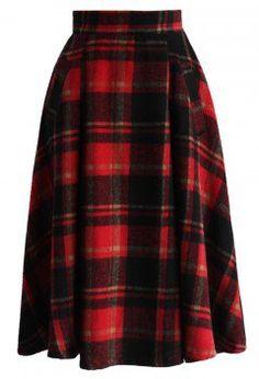 Retro A-line Midi Skirt in Red Plaids - Bottoms - Retro, Indie and Unique Fashion