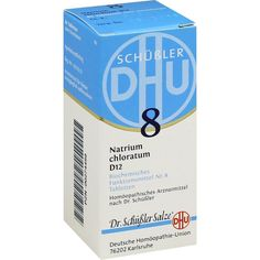 BIOCHEMIE DHU Schüssler Salz 8 Natrium chloratum D12 Tabletten:   Packungsinhalt: 80 St Tabletten PZN: 00274499 Hersteller:…
