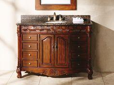 Single 48 Inch Bathroom Vanity with Granite Top. Traditional Bathroom Design.