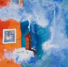 """Per Nylén - """"Kul med ny sommarstuga"""" finns att köpa hos oss på Galleri Melefors / is available for purchase at Galleri Melefors #pernylén #nylén #nylen #art #acrylpainting #acryl #painting #artist #colors #dream #summer #clouds #forsale #konst #tavla #målning #akryl #akrylmålning #konstnär #svensk #färger #dröm #sommarstuga #moln #sommar #natur #tillsalu #gallerimelefors #melefors"""