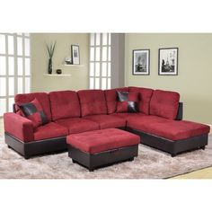 Sectional with Storage Ottoman Orientation: Right Hand Facing, Upholstery: Red - http://sectionalsofaspot.com/sectional-with-storage-ottoman-orientation-right-hand-facing-upholstery-red-696277285/