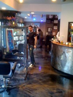Gun Metal Designer Epoxy Floor at Mad One Jacks Hair Salon Hoboken NJ.  Repin  Click For More Info or Quote @ Your Home / Business