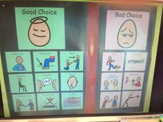 Good vs. Bad Choices    Working with a partner.  Autism Classroom Visuals by Don't Forget the Visual Supports:  https://www.teacherspayteachers.com/Store/Dont-Forget-The-Visual-Supports  Classroom, Special Education, Autism Teachers, Special & General Education, Autism, Literacy, Comprehension, Visual help, Social Skills, Behavior, Communication