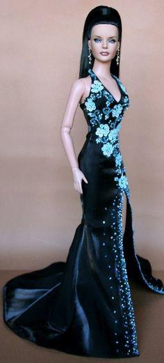 fashion doll, teal gown  VELVET  **+