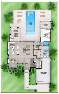 Contemporary Florida Modern Level One of Plan 75977