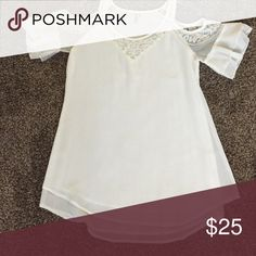 Lace Shirt White, see-through, lace shirt. Cut out sleeves. Very cute! Can be dressed up or down for any occasion. Tops Blouses