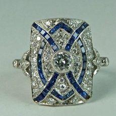 Art Deco Ring, Art Deco Jewelry, Fine Jewelry, Jewelry Ideas, Jewelry Rings, Jewelry Supplies, Jewelry Crafts, Jewelry Making, Ring Set