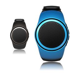CAMTOA Wireless Bluetooth Wrist Speaker MP3 Music Player Watch  Mini SpeakerRunning Small Speaker for Remote Control SelfiePhone AntilostHandsfree Calls TF Card PlayingFM Radio Blue -- Find out more about the great product at the image link.