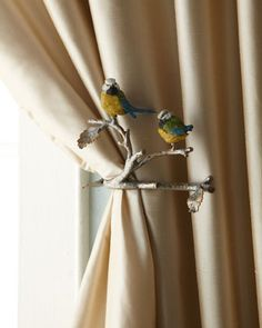 """Two """"Feathered Friends"""" Tiebacks by Janice Minor at Horchow."""