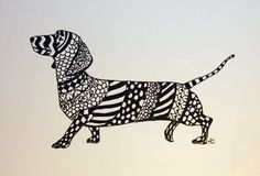 Dachshund Zentangle Original Pen and Ink Drawing with Hearts Free Shipping in USA. $45.00, via Etsy.