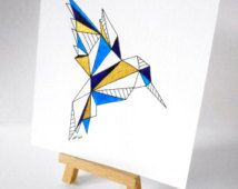 Hummingbird illustration geometric - wall art ~ geometric art ~hand drawn…