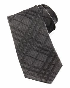 Skinny Check Silk-Linen Tie by Burberry at Neiman Marcus.