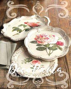 Decoupage Art, Decoupage Vintage, Fun Crafts, Diy And Crafts, Arts And Crafts, Silver Trays, Silver Plate, Silver Tray Decor, Painted Trays