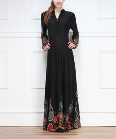 Another great find on #zulily! Black Paisley Button-Front Maxi Dress by Miss Maxi #zulilyfinds