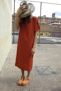 IBIZA T-SHIRT DRESS, RUST