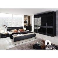 Schlafzimmer mit Bett 180 x 200 cm schwarz Woody 127-00031