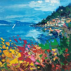 Lake Como Painting on Canvas, Original Art, Italy Painting, Impressionist Art, Landscape Painting, Living Room Art, Large Square Painting