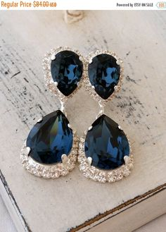 Navy Blue Crystal Chandelier Earrings Drop Dangle Bridal Deep Swarovski Silver Or Gold