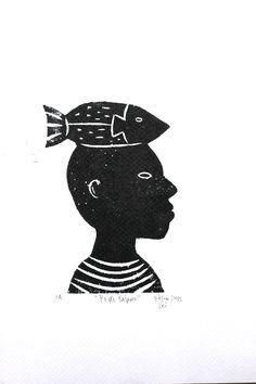 Peixe baiano. Xilogravura produzi na oficina de J. Borges no II Festival de Ilustração e Literatura na Bahia. Abril/2015