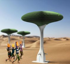 Thirst-Quenching Trees: Designed for use in tropical desert areas of Africa and the Americas where temperatures vary greatly between day and night, the Hope Tree is a large tree-shaped device that absorbs moisture from the air to supply drinking water.