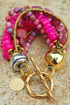 Stunning Pink  Gold Statement Bracelet
