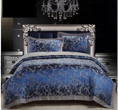 Royal Blue Luxury Duvet Cover Sets 4PC 50% Cotton 50% Satin Bed Sheet Set Jacquard Bedding Set Full/Queen/King Size FreeShipping