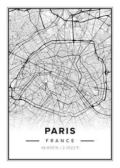 Paris downtown vector map in light version with many details for high zoom levels. This map of Paris, France, contains typical landmarks with room for. Paris Map, Paris City, Paris France, City Ville, Poster Online, Map Vector, Architecture Drawings, Vintage Maps, Map Design